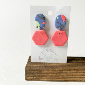 Polymer Clay Earring - Bluestone Small Hexagon - Femme Wares Niagara Local Small Business