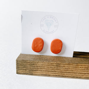 Polymer Clay Earring - Plain Stud Terracotta - Femme Wares Niagara Local Small Business