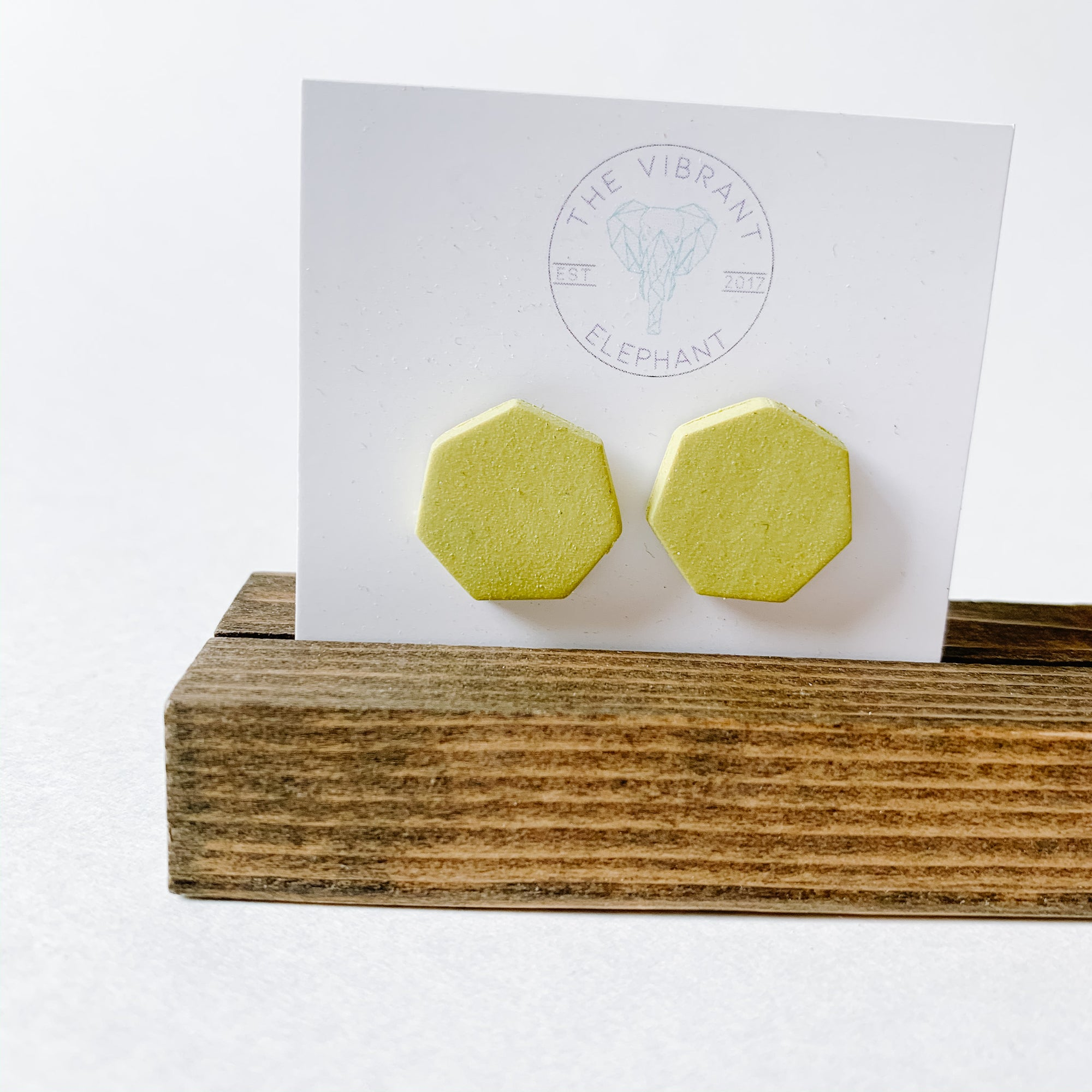 Polymer Clay Stud Earring - Solids Hexagon Dark Mustard - Femme Wares Niagara Local Small Business
