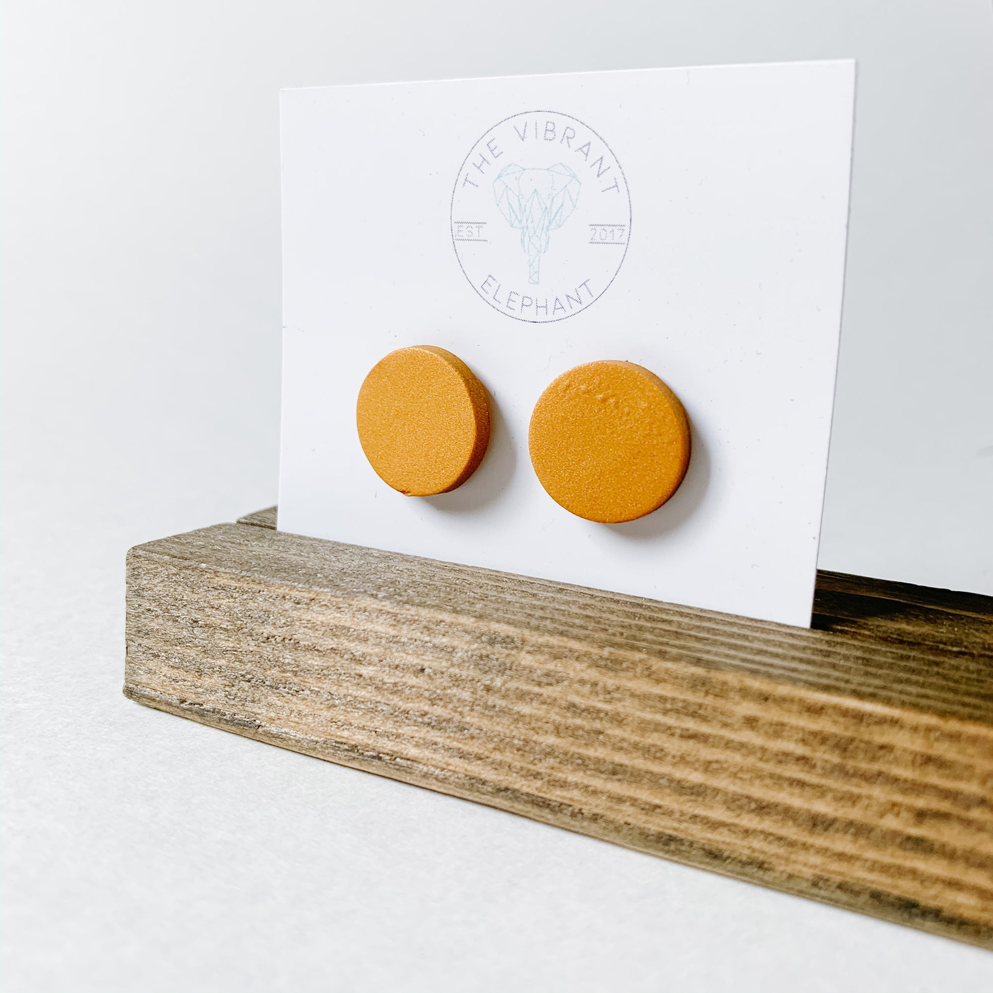 Polymer Clay Stud Earring - Solids Round Copper Shimmer - Femme Wares Niagara Local Small Business