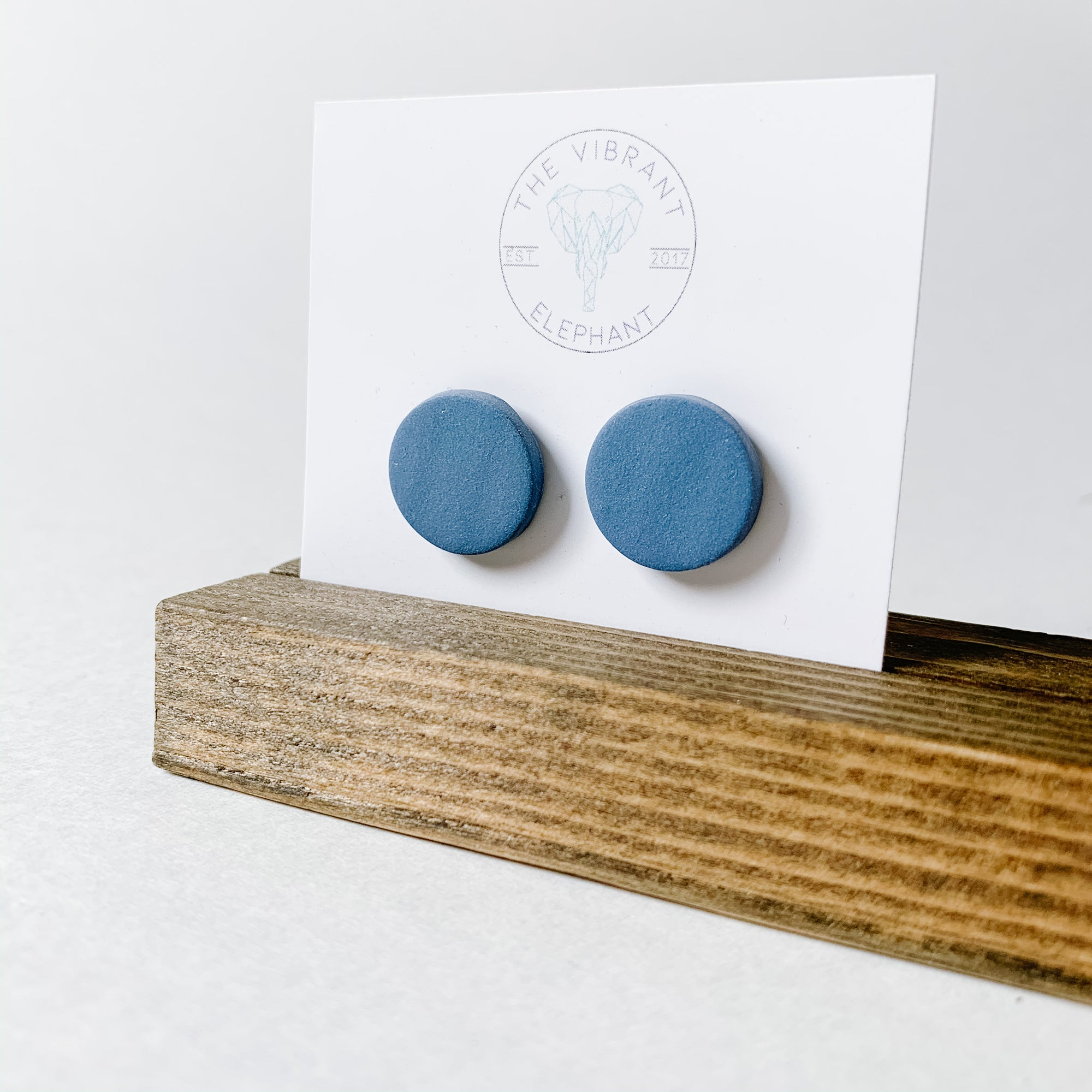 Polymer Clay Stud Earring - Solids Round Blue - Femme Wares Niagara Local Small Business