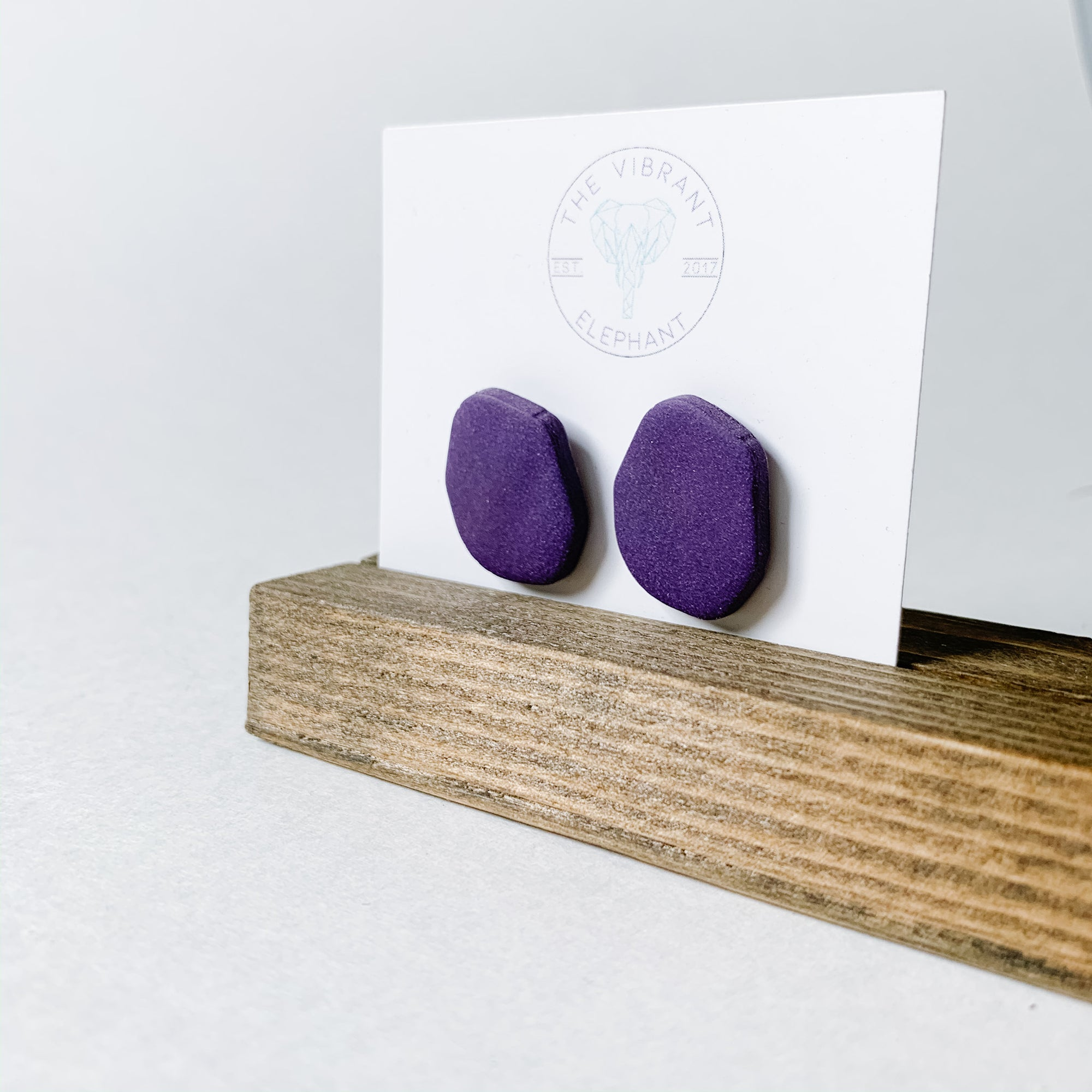 Polymer Clay Stud Earring - Solids Abstract Purple - Femme Wares Niagara Local Small Business