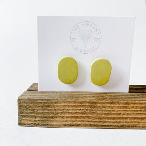 Polymer Clay Stud Earring - Solids Oval Dark Mustard - Femme Wares Niagara Local Small Business
