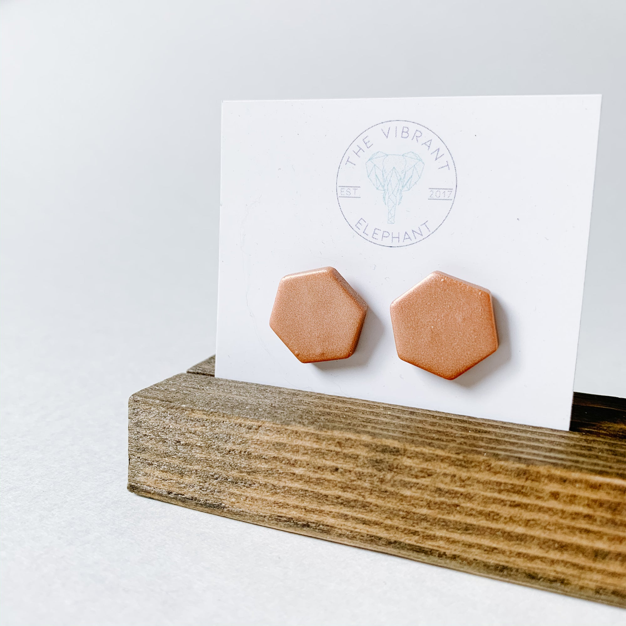 Polymer Clay Stud Earring - Solids Hexagon Blush Shimmer - Femme Wares Niagara Local Small Business