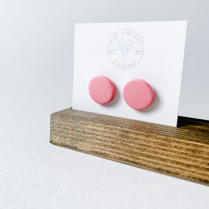 Polymer Clay Stud Earring - Solids Round Pink - Femme Wares Niagara Local Small Business
