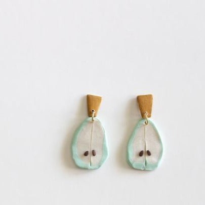 Pear Statement - Polymer Clay Earrings - Femme Wares Niagara Local Small Business
