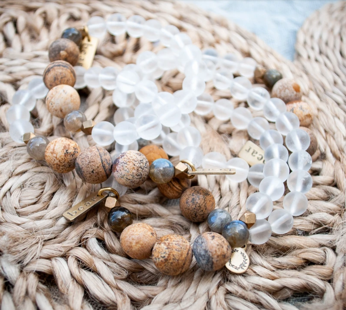 Deep Woods Bracelet - Frosted Quartz & Picture Jasper - Femme Wares Niagara Local Small Business