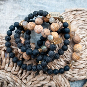 Deep Woods Bracelet - Frosted Onyx & Picture Jasper - Femme Wares Niagara Local Small Business