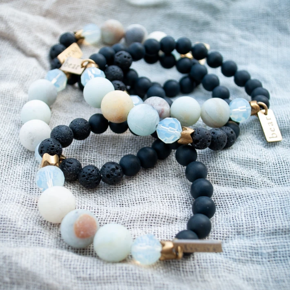 Eau Bracelet - Frosted Onyx & Amazonite - Femme Wares Niagara Local Small Business