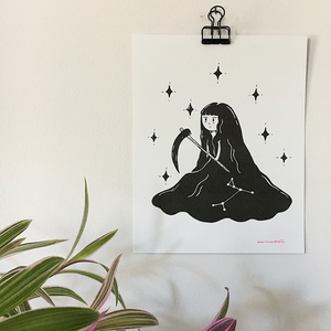 Canis Major Reaper ~ Risograph Print - Femme Wares Niagara Local Small Business