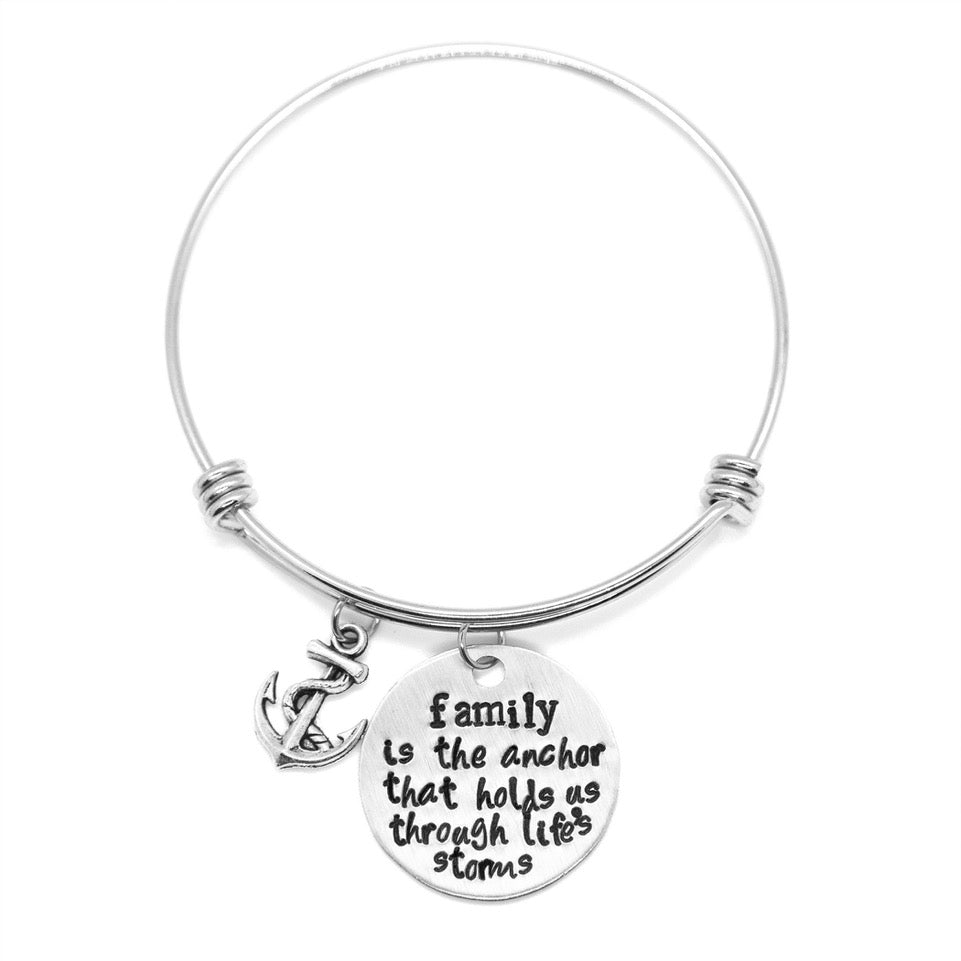 Family - Hand-Stamped Bangle Bracelet - Femme Wares Niagara Local Small Business