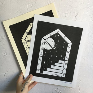 Space/Saturn Portal ~ Risograph Print - Femme Wares Niagara Local Small Business