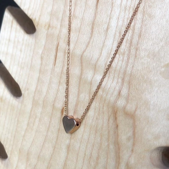 Silver Plated Heart layering necklace - Femme Wares Niagara Local Small Business