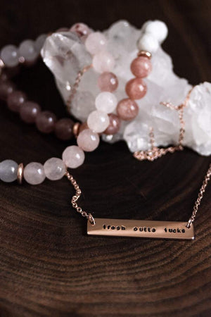 Fresh outta fucks hand stamped bar layering necklace - Femme Wares Niagara Local Small Business
