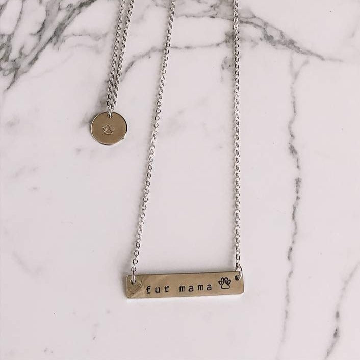 Fur mama hand stamped bar layering necklace - Femme Wares Niagara Local Small Business