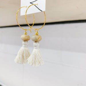 Crazy Lace Agate Tassel Hoop Earrings - Femme Wares Niagara Local Small Business