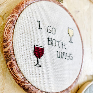 Both Ways Wine Embroidery Art - Femme Wares Niagara Local Small Business
