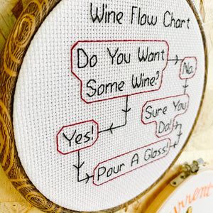 Wine Flow Chart Embroidery Art - Femme Wares Niagara Local Small Business