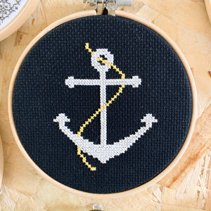 Anchor Embroidery Art - Femme Wares Niagara Local Small Business