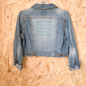 Up-cycled Handstitched Women's Jean Jacket - Femme Wares Niagara Local Small Business