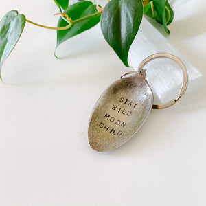 Stay Wild Moon Child - Vintage Spoon Hand-stamped Keychain - Femme Wares Niagara Local Small Business