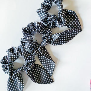 Bow Scrunchie - Gingham - Femme Wares Niagara Local Small Business