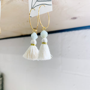 Amazonite Tassel Hoop Earrings - Femme Wares Niagara Local Small Business
