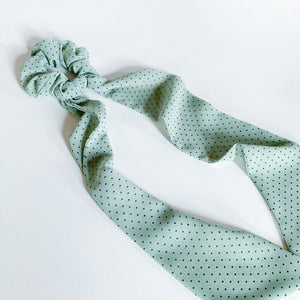 Hair Scarf Scrunchie - Light Green Dotted - Femme Wares Niagara Local Small Business
