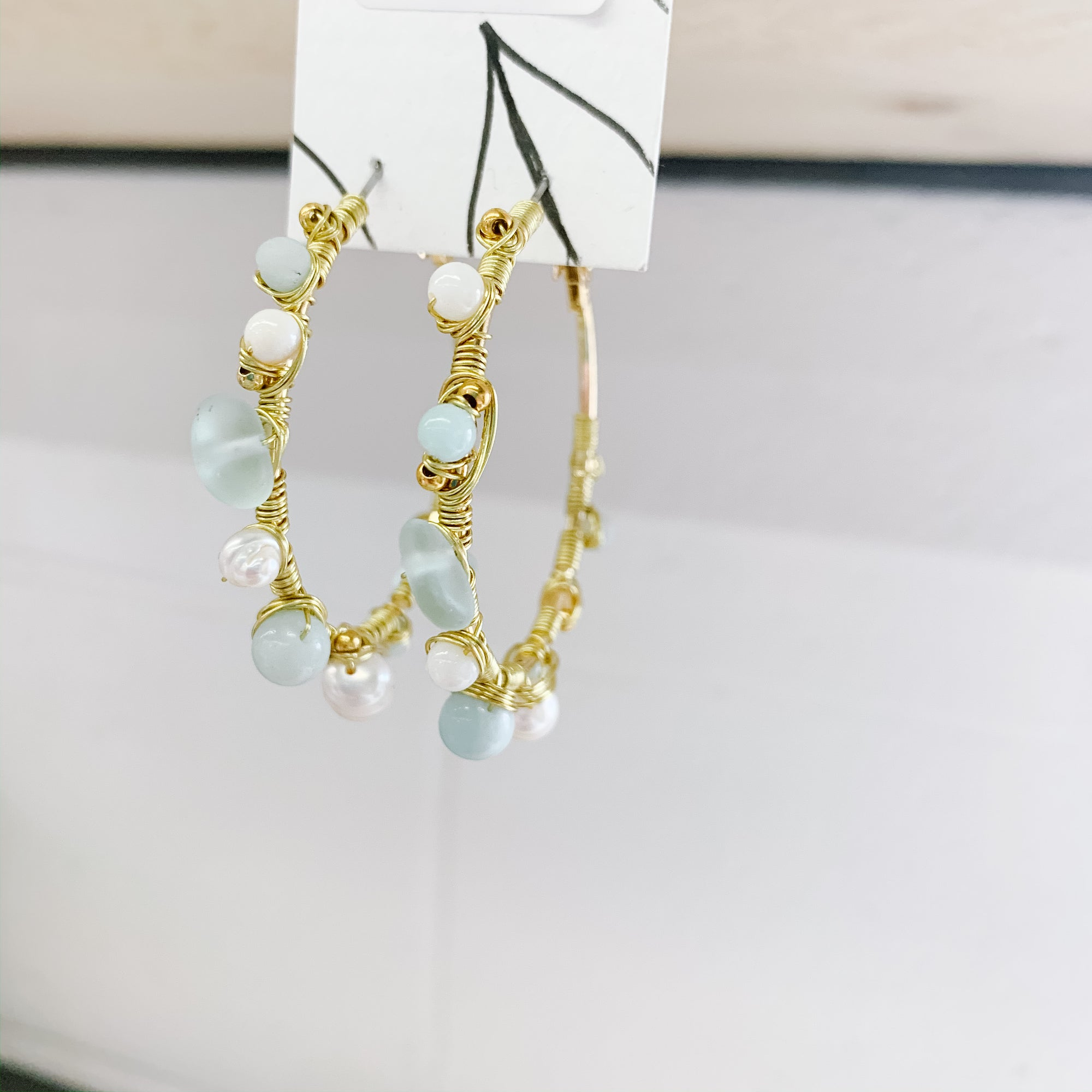 Amazonite, Sea Glass & Pearl Hoop Earrings - Femme Wares Niagara Local Small Business