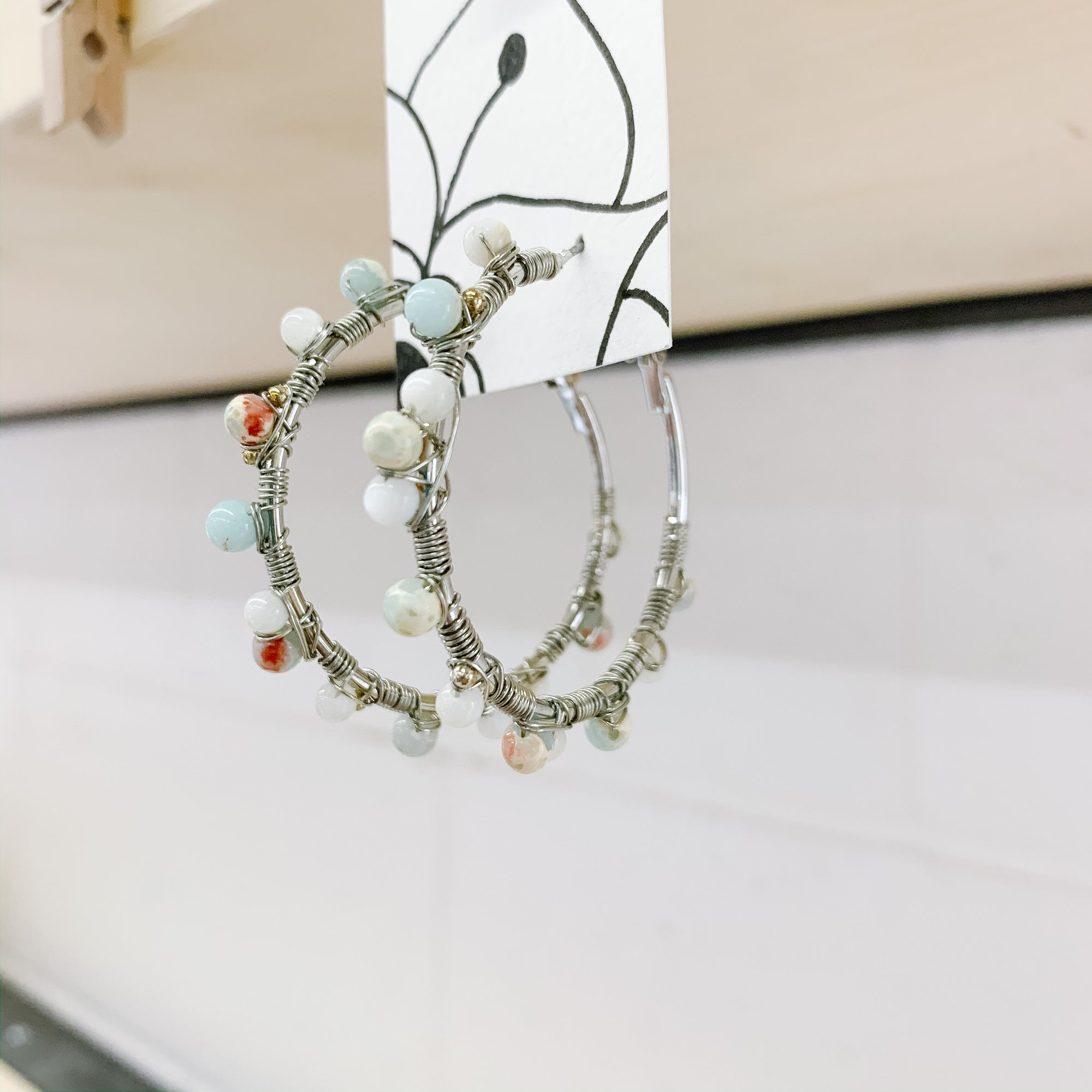 Jasper Crystal Hoop Earrings - Femme Wares Niagara Local Small Business
