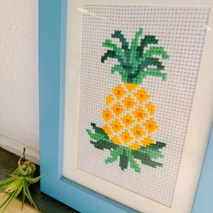 Pineapple Framed Embroidery Art - Femme Wares Niagara Local Small Business