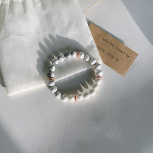 White Howlite & Lava Stone Crystal Gemstone Bracelet - Femme Wares Niagara Local Small Business
