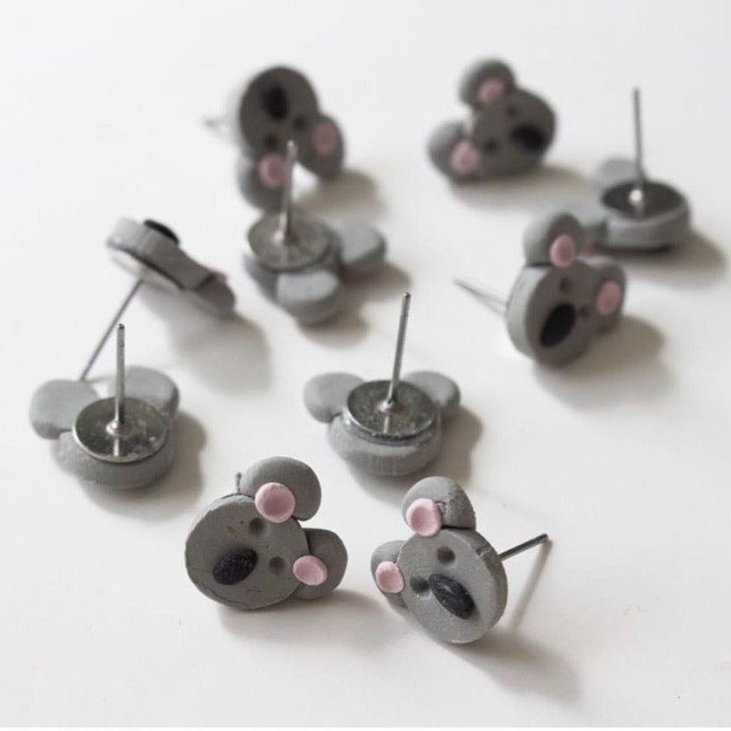 Koala Stud - Polymer Clay Earrings - Femme Wares Niagara Local Small Business