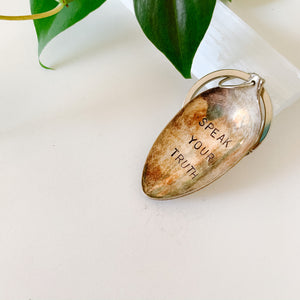 Speak Your Truth - Vintage Spoon Hand-stamped Keychain - Femme Wares Niagara Local Small Business