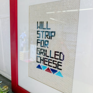 Grilled Cheese Framed Embroidery Art - Femme Wares Niagara Local Small Business