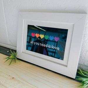 All You Need Is Love Framed Embroidery Art - Femme Wares Niagara Local Small Business