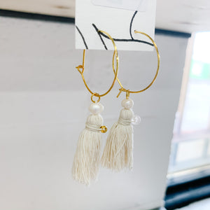 Pearl & Crystal Tassel Hoop Earrings - Femme Wares Niagara Local Small Business