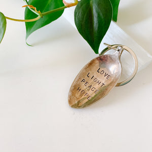 Love Light Peace Hope - Vintage Spoon Hand-stamped Keychain - Femme Wares Niagara Local Small Business