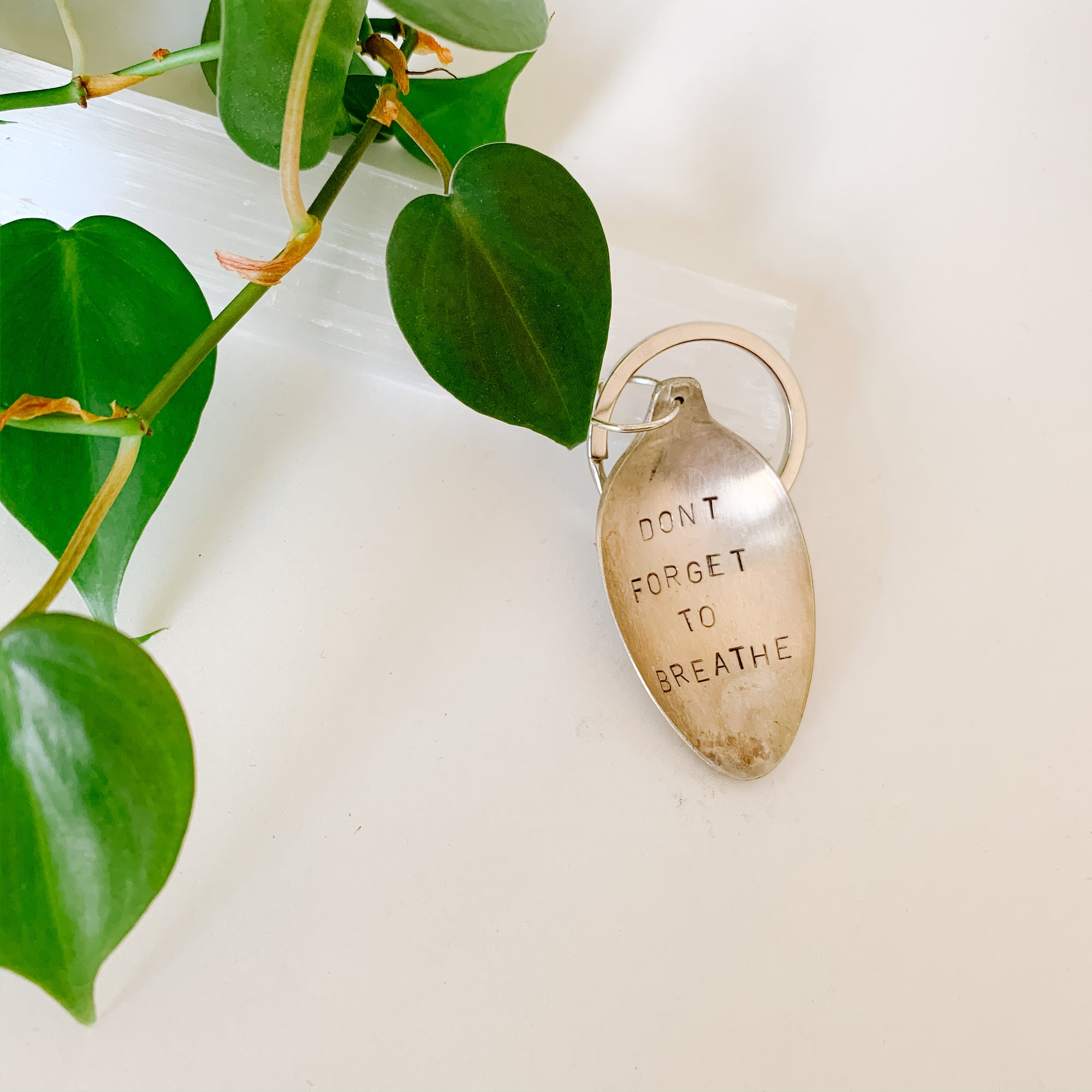 Don't Forget to Breathe - Vintage Spoon Hand-stamped Keychain - Femme Wares Niagara Local Small Business