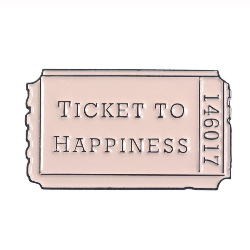 Ticket To Happiness Enamel Pin - Femme Wares Niagara Local Small Business