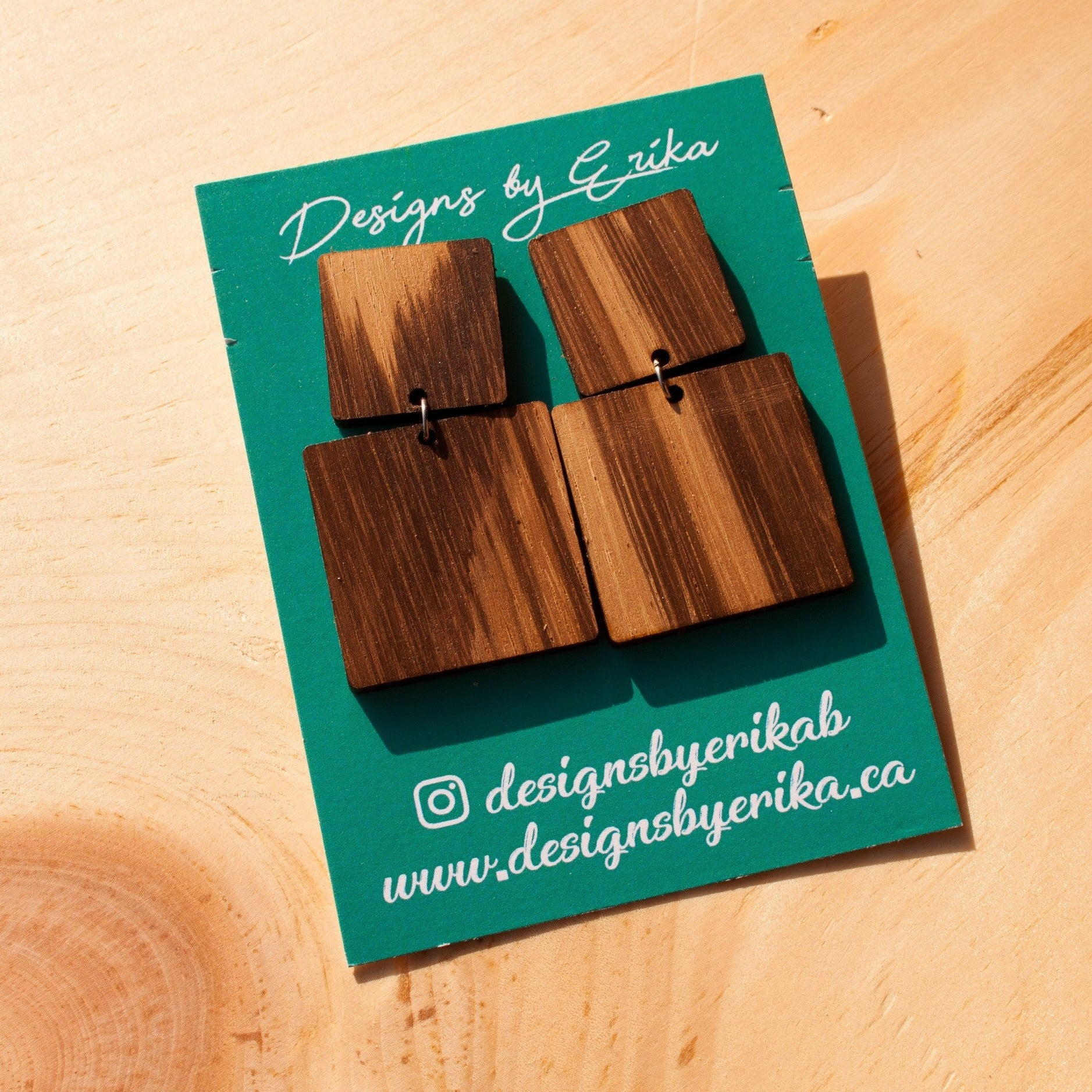 Large Square Studs - Two Tier Wood Earrings - Femme Wares Niagara Local Small Business