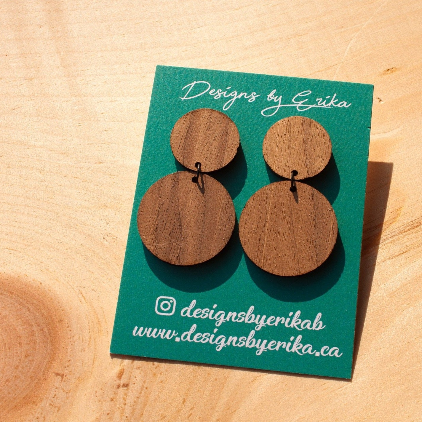 Circle Wood Earrings - Femme Wares Niagara Local Small Business