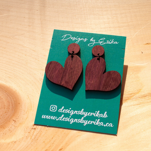 Heart Studs - Two Tier Wood Earrings - Femme Wares Niagara Local Small Business