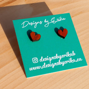 Heart Wood Stud Earrings - Femme Wares Niagara Local Small Business