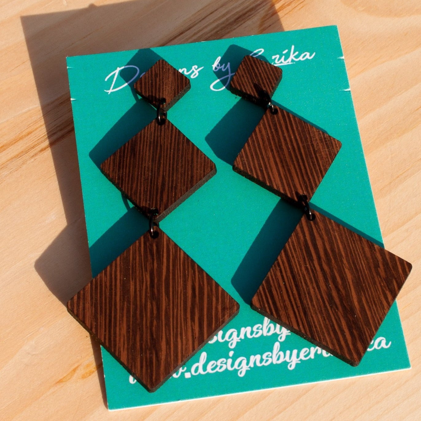 Diamond Studs - Three Tier Wood Earrings - Femme Wares Niagara Local Small Business