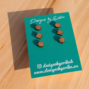 Geometric Wood Stud Earrings - 3 Stud Set - Femme Wares Niagara Local Small Business