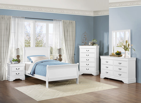 Louis Philippe Bedroom Set (white) - Aldergrove Furniture Warehouse