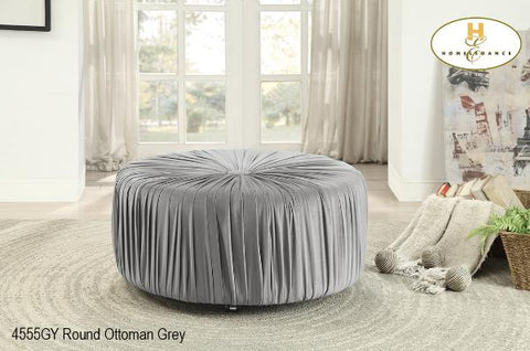 Upholstered Round Ottoman ( 4555BU ) - Aldergrove Furniture Warehouse