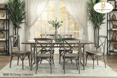 Wood and Metal Dining Collection(5608-78) - Aldergrove Furniture Warehouse