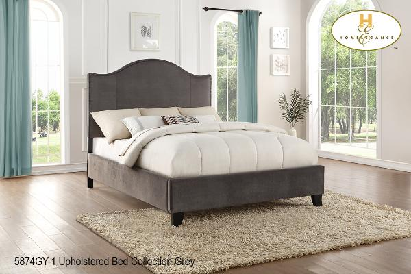 Contemporary Upholstered Bed ( 5874GY-1 ) - Aldergrove Furniture Warehouse